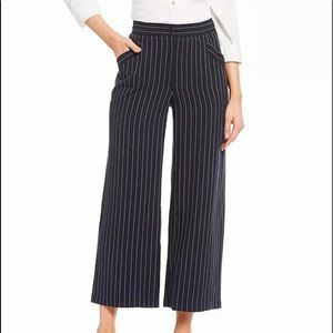 Eileen Fisher Navy Pinstripe Wide Leg Pant